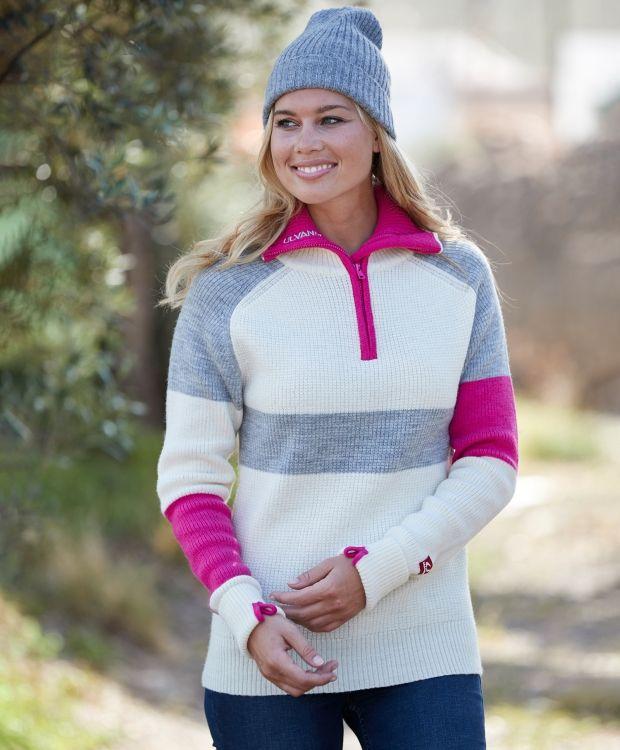 Ulvang Rav LTD Genser W Ulvang Rav ullgenser til dame. Strikkegenser i 100 % ull med høy hals, logo på venstre arm og glidelås i halsen. Denne genseren holder deg god og varm. Kontrastfarget glidelås og felt på armene og over brystet.