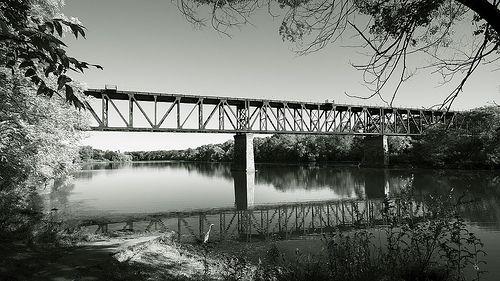 Galt train bridge B&W Cambridge Ontario Canada