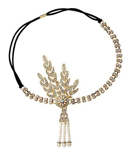 BABEYOND Art Deco 1920s Flapper Great Gatsby Inspired Leaf Medallion Pearl Headpiece Headband Gold * You can get additional details at the image link. #BunandCrownShapers