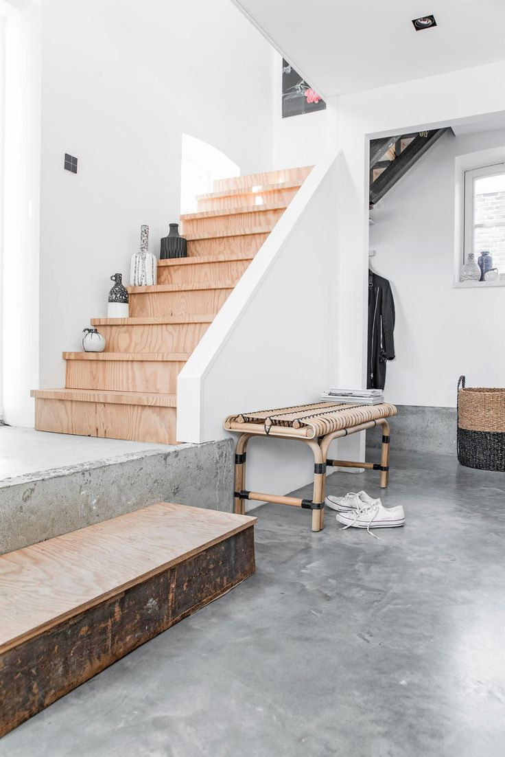 plywood stairs & concrete