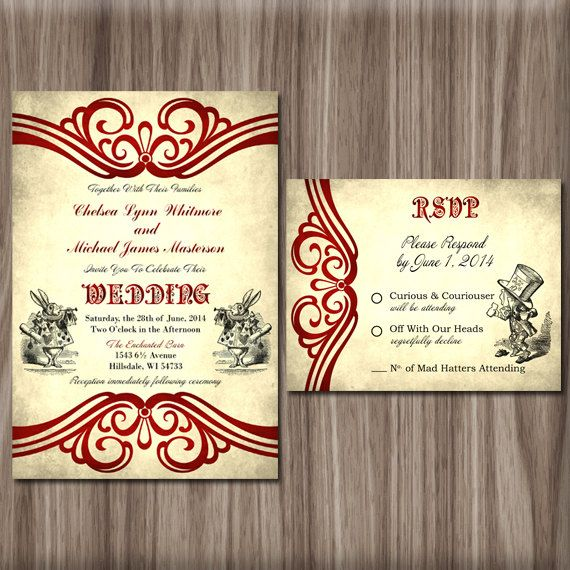 Alice In Wonderland Wedding Invitation By DIYFabulous On Etsy, $15.00