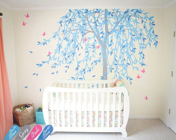 Large willow tree wall decal nursery tree wall sticker murals butterfly wall art decor wall tattoo KW020