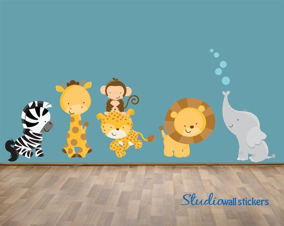 Jungle Animals WAll Decal REUSABLE by StudioWallStickers on Etsy, $80.00