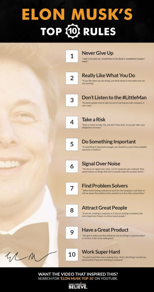 Elon Musks Top 10 Rules for Success - http://www.evancarmichael.com/blog/2015/10/10/elon-musks-top-10-rules-for-success/