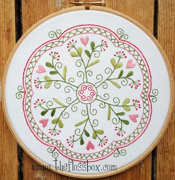 The Garden of Hearts Mandala will help you keep summer all year round! This embroidery kit includes instruction pack, pre-printed cotton fabric and DMC floss needed.  Thanks for visiting The Floss Box on Etsy