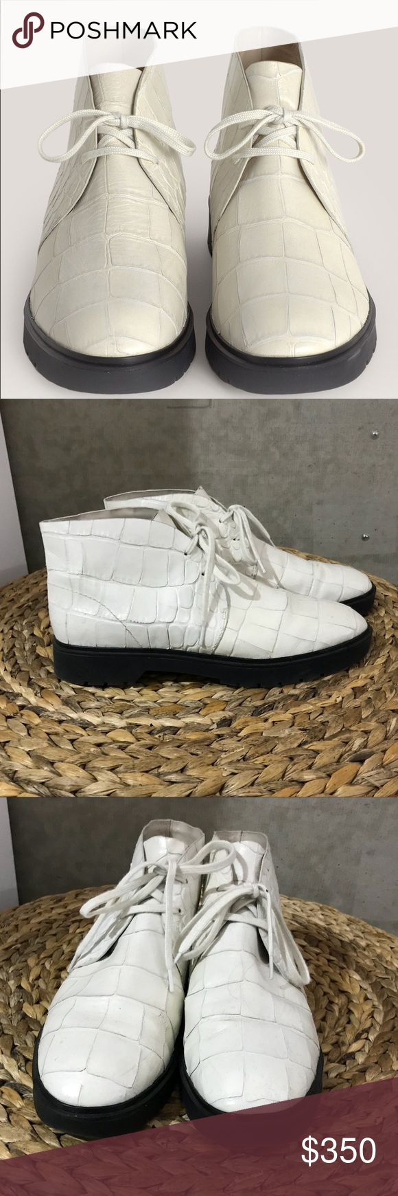Alexander Wang Ivory Croc Leather Lee Chukka Boots Women's White Ivory Croc Embossed Leather Lee Chukka Boots. Gently worn a handful of times, in excellent condition. Alexander Wang Shoes Ankle Boots & Booties