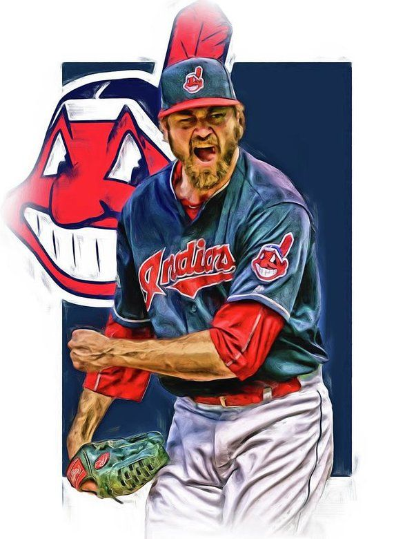 Andrew Miller Print featuring the mixed media Andrew Miller Cleveland Indians Oil Art by Joe Hamilton