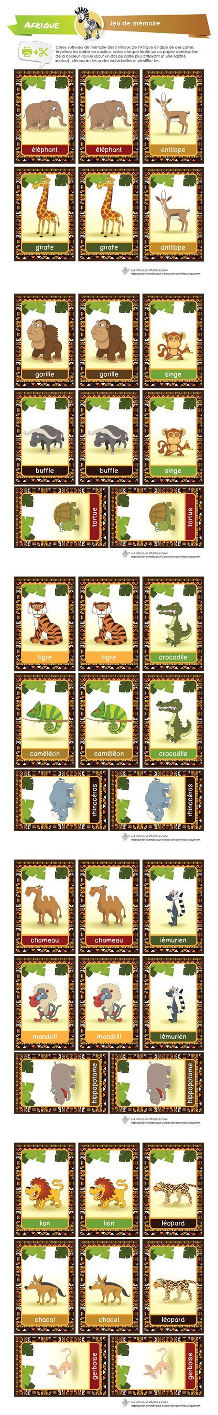 Créez votre jeu de mémoire des animaux de l'Afrique à l'aide de ces cartes. 19 animaux différents pour un total de 38 cartes à créer. Imprimez les cartes en couleur, collez chaque feuille sur un papier construction de la couleur voulue (pour un dos de carte plus attrayant et une rigidité accrue) , découpez les cartes individuelles et plastifiez-les.