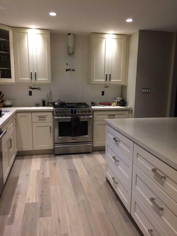 Modern Backsplash Tile Kitchen After: Milky White Shaker Cabinet, Frigidaire