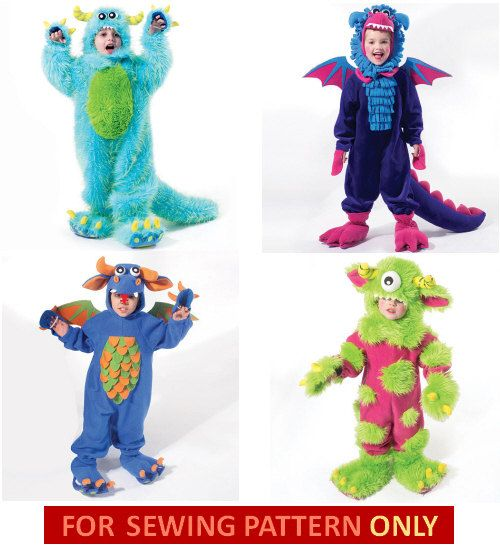 sewing pattern to make fun monster costumes your choice of two sizes patterns included - Halloween Costume Monster