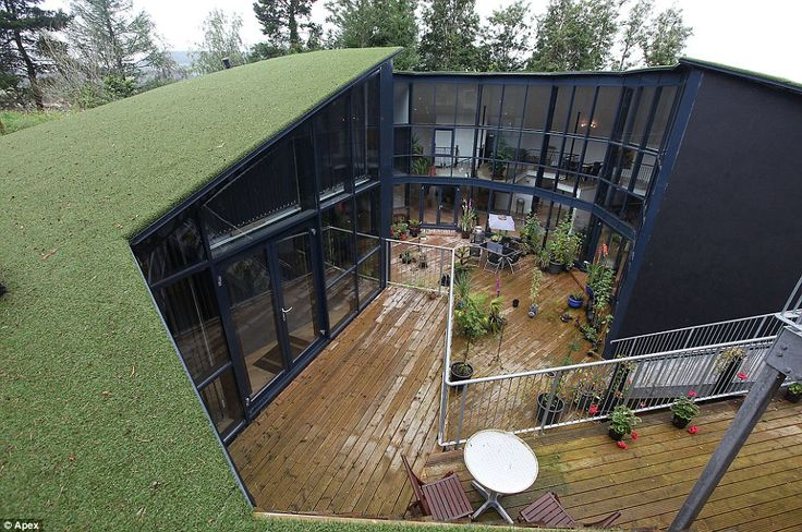 Camouflage: The roof of the property is covered in turf, meaning it blends seamlessly into the hillock