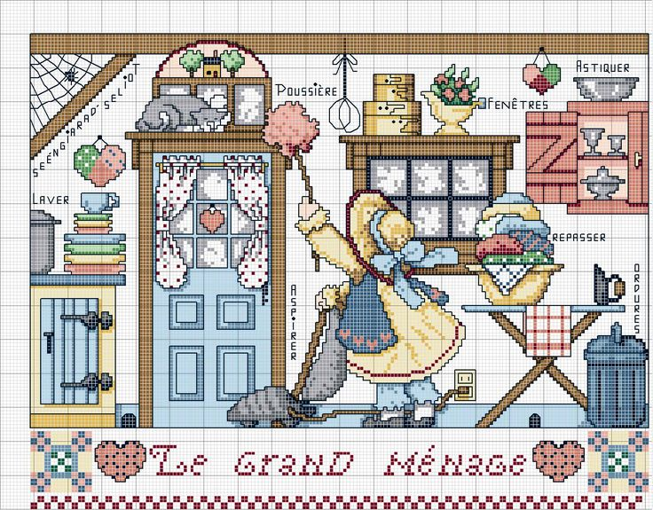 Cross stitch pattern, home, cleaning.