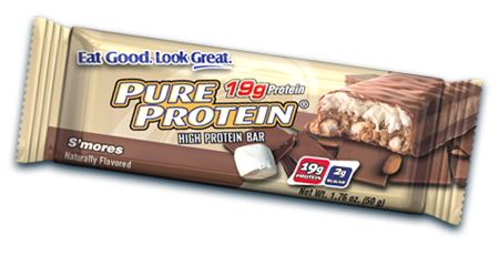 Pure Protein S'mores Bars. Cut in half, these are the perfect substitute for Medifast bars. They also taste delicious...hard to believe they're protein bars!