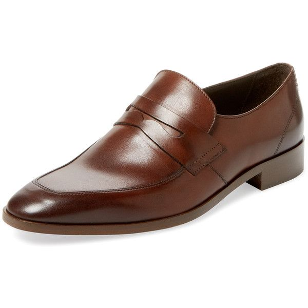 Bruno Magli Men's Sensation Apron-Toe Loafer - Brown, Size 10 ($225) ❤ liked on Polyvore featuring men's fashion, men's shoes, men's loafers, brown, mens leather shoes, mens shoes, mens brown loafer shoes, mens loafers and mens leather loafers