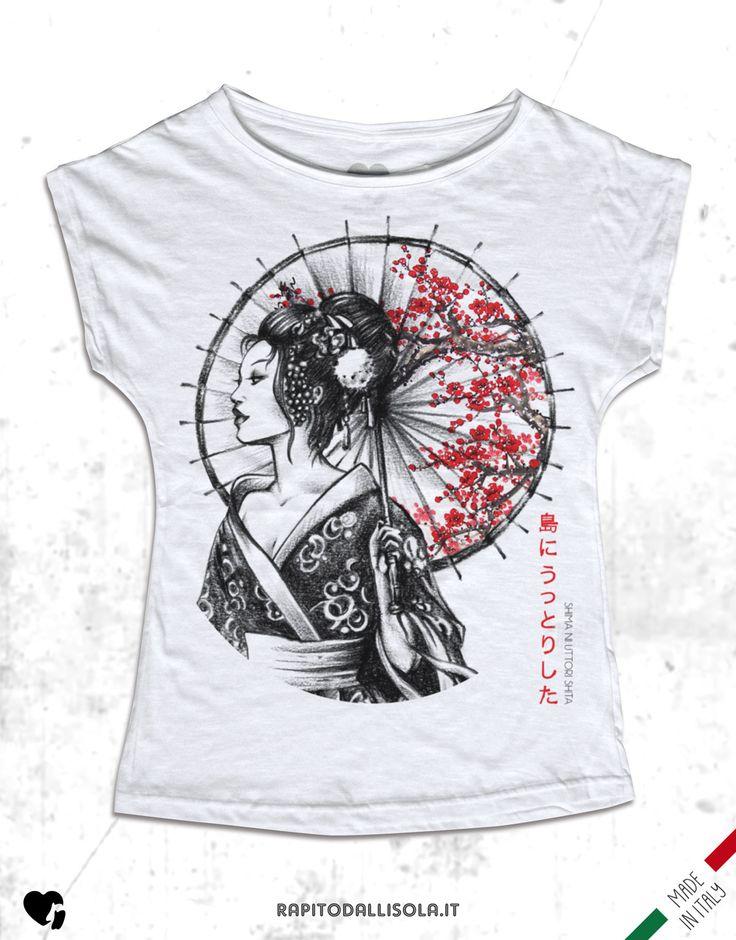 Jap Art - Geisha ombrello. T-shirt in cotone fiammato. 100% made in Italy www.rapitodallisola.it