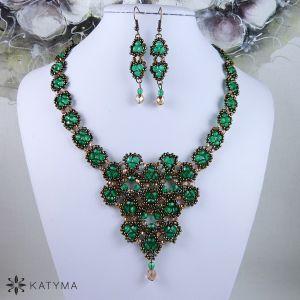 Souprava krajka smaragdově zelená