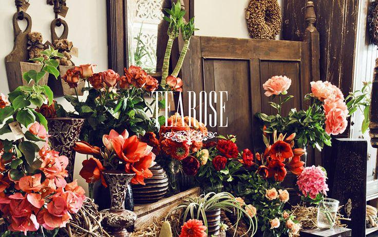 Virágszalon, virágüzlet, őszi belső tér, piros enteriőrök   flower salon, flower shop, autumn enterior, red enteriors