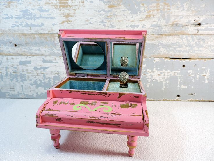Piano Jewelry Box Painted Pink: Shabby Chic Pink & Green Chandelier Designed Jewelry Armoire Storage French Country Décor Girls Jewelry Box by SexyTrashVintage on Etsy https://www.etsy.com/listing/511928111/piano-jewelry-box-painted-pink-shabby