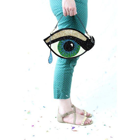 Green Glitter Eye Clutch Handbag with Teardrop by LunaontheMoon