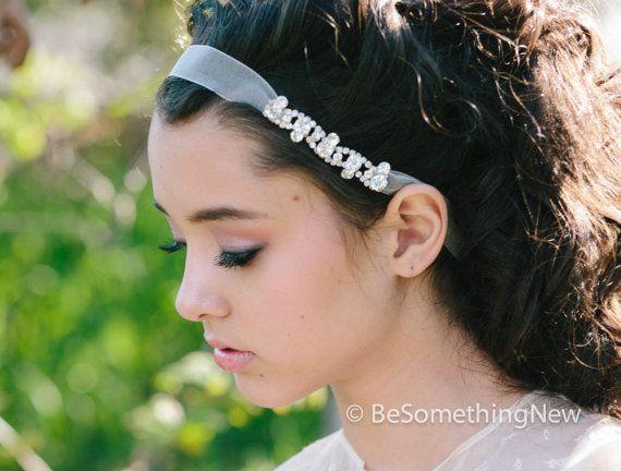 rhinestone chain and organza ribbon tie headband, wedding hair bridesmaid accessories op Etsy, 27,44 €