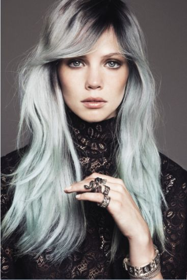 Gray Blue. When my hair becomes more than 50% gray, this is exactly what I am going to do with my hair. This colour and style are stunning.