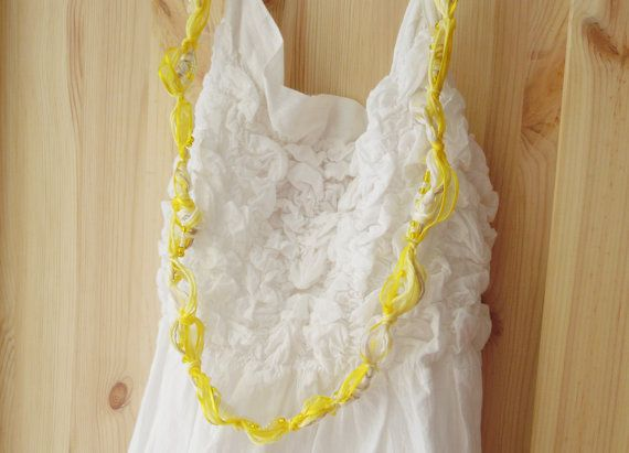 Cute yellow necklace with cotton and linen yarn, glass beads and ribbon  -- Lemon Pie 2