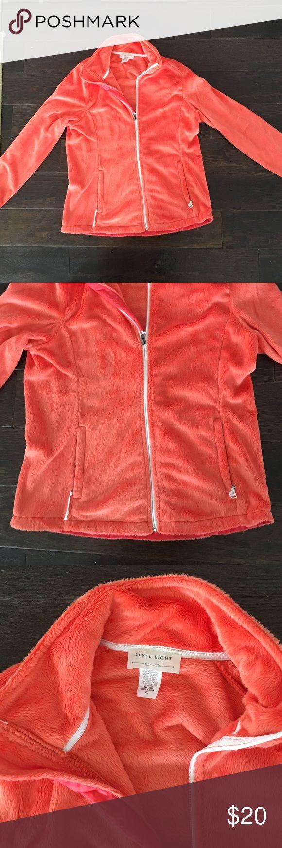 NWOT women's XL fuzzy soft zip up jacket! NWOT women's XL fuzzy soft zip up jacket! Very soft fuzzy fur- brand new- never worn. Orange color. Very warm! Jackets & Coats