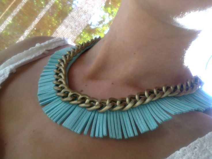 Pear fringe necklace with chain