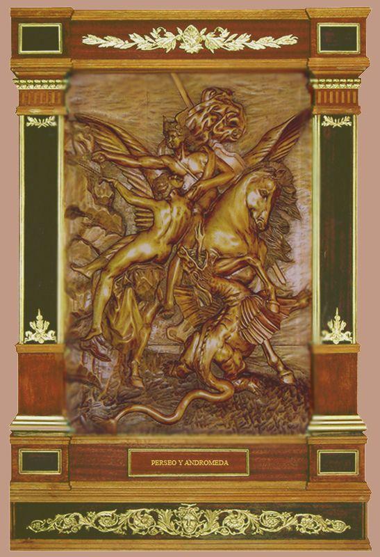 """J. M. Félix Magdalena.- """"PERSEO Y ANDRÓMEDA"""" Relieve tallado en madera de arce,  95 x 65 x 9 cm."""