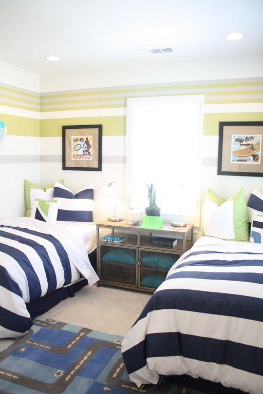 boys shared room nightstand/layout.  Love navy
