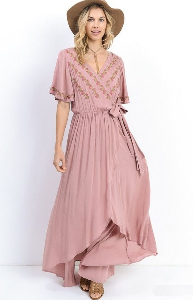 "Boho Summer Maxi Dress Ideas, ootd, the ""Morgan"" Dusty Pink Wrap Maxi Dress"