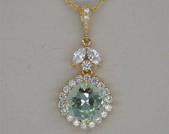 Menta verde collana, collana oro damigelle d'onore, verde menta chiaro collana, gioielli di nozze di cristallo Swarovski, strass verde damigelle regalo