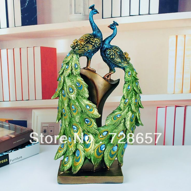 Traditional Chinese Style Custom Decorative Polyresin Peacock Pair Craft  Furnishing Embellishment For Wedding And Room Decor(China (Mainland))