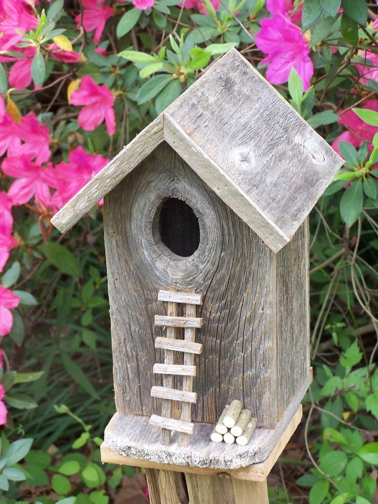 Weathered Cedar Tool Shed/Pumphouse Birdhouse. $35.00, via Etsy.