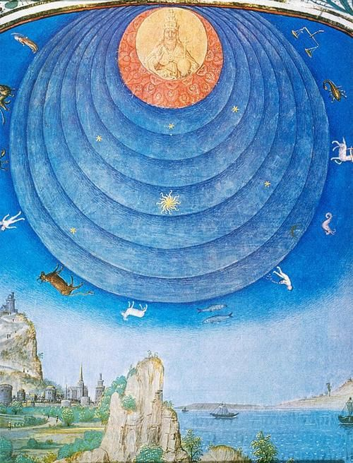 Simon Marmion, Astronomical Halo, detail, 1460. The spheres of the heavens are shown as a dome with the realm of God at the apex.