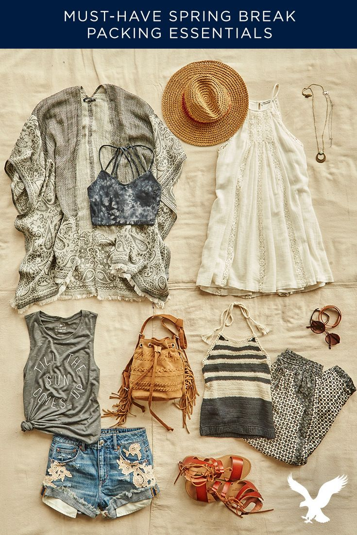 Our must-have Spring Break essentials perfect pieces to make your vacation one to remember. From Kimonos, to crop tops to soft pants and denim shorties, we've got #AEOSTYLE to take you from the beach, to brunch and beyond!