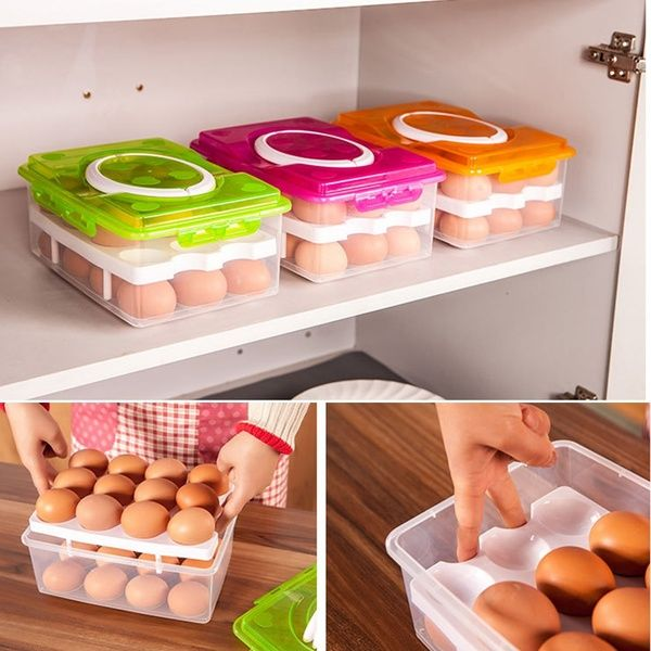 1pcs Double Layer Storage Box Eggs Container Holder Egg Refrigerator 24 Grid Tools In 2020 Egg Storage Kitchen Storage Boxes Cool Kitchens