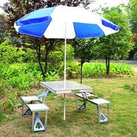 Foldable Picnic Table with 4 Seats  The aluminum folding picnic table offers you a strong yet lightw