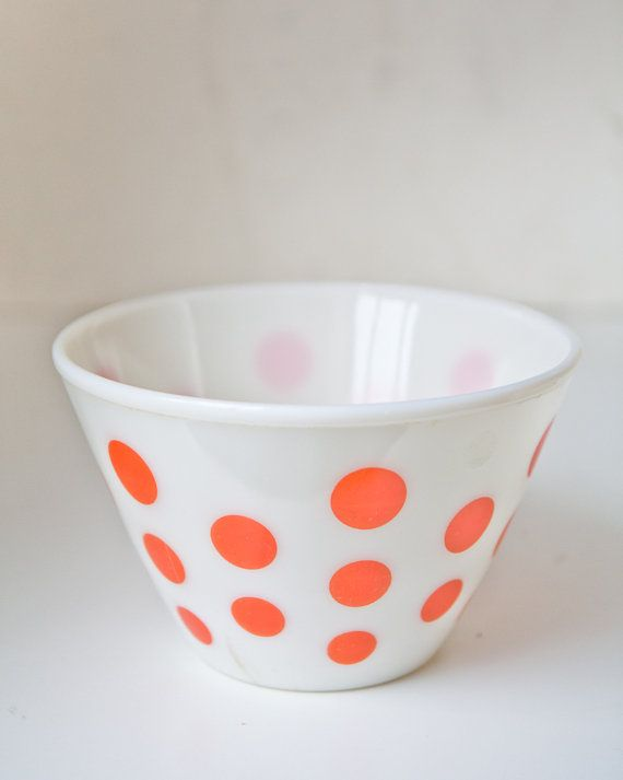 1950's Fire King Large Red Polka Dot Mixing Bowl