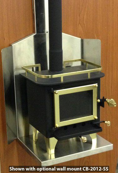 (Approx $348.81 USD) Available in brass or black trim Mini wood stove designed to heat boats up to 40' long, cabins and RV's up to 20' long.  Designed to heat spaces from 100 to 200 square feet Durable! Constructed from laser cut steel plate 1/8 to 3/16 thick! Produces 6000 to 14000 BTU's! Insulation and glass made of ceramic. Easy to install and easy to operate! Measures only 11 x 12 x 10.5! 3-inch flu pipe diameter Eco-friendly Produces very little smoke due to its secondary combustion…