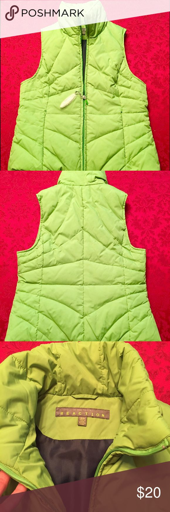 Kenneth Cole Reaction puffy vest Seahawks fans! Cute lime green puffy vest - blue fabric inside! So comfy. Kenneth Cole Reaction Jackets & Coats Vests