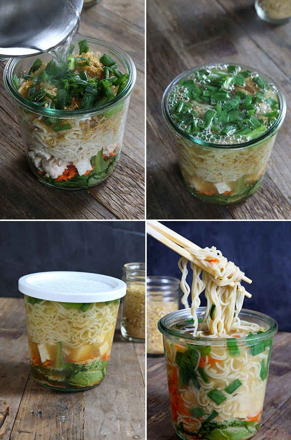 Spend half an hour prepping a few gourmet instant noodle cups to eat for lunch throughout the week.