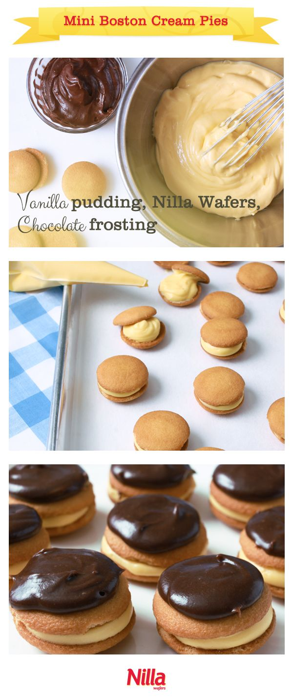 Mini Boston Cream Pies look as sweet as they taste. A simple, impressive recipe made with NILLA Wafers.