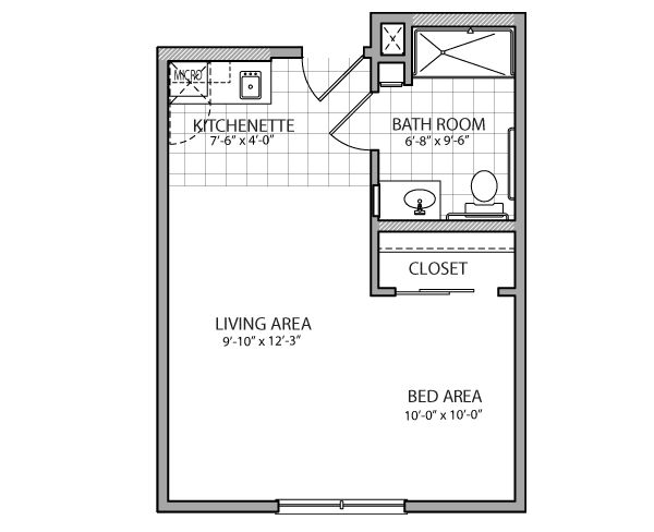 400 square feet above garage studio apartment with kitchen for Garage studio apartment