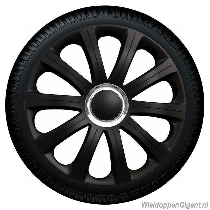 Wieldoppen set MODENA BK in zwart en chroom ring in 13, 14 en 15 inch