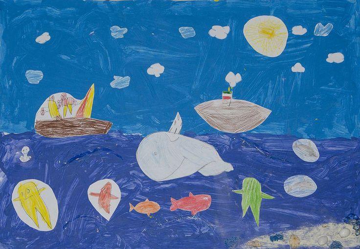 """Blu """"Oceano"""" (colore primario) disegno a tempera realizzato dai bambini di 5 anni della scuola d'infanzia """"Biancaneve"""" del Comune di Lecce, anno 2012-2013. Per esposizione """"I Colori della vita"""" di Ileana Zatti"""