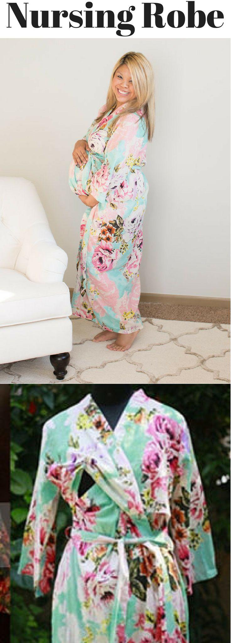 Floral nursing robe, pregnancy robe, hospital wear robe, birthing robe  #affiliatelink