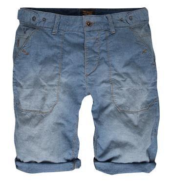 PME Legend 5-pocket chambray korte broek / short voorzien van klepzakken met knoopsluiting aan de achterzijde - Lichtblauw - NummerZestien.eu