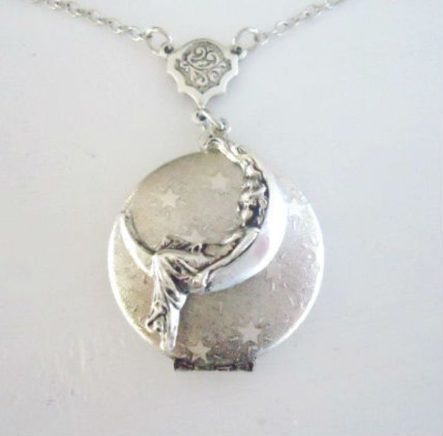 925 sterling zilveren medaillon meisje in de maan Antiek zilver foto medaillon ketting vrouwen Antiek zilver foto medaillon halsketting berg veilig uw foto of geheim in dit leuke medaillon mooi...