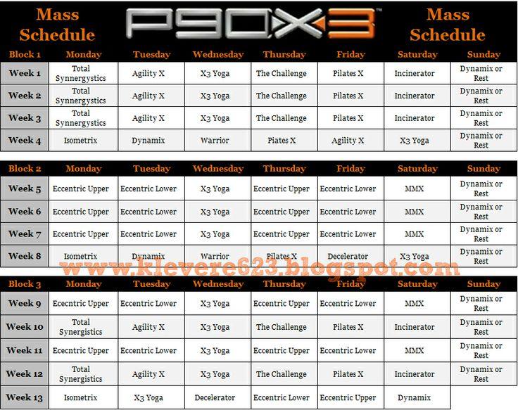P90X3 Mass Schedule and Calendar | P90X3 | Pinterest ...